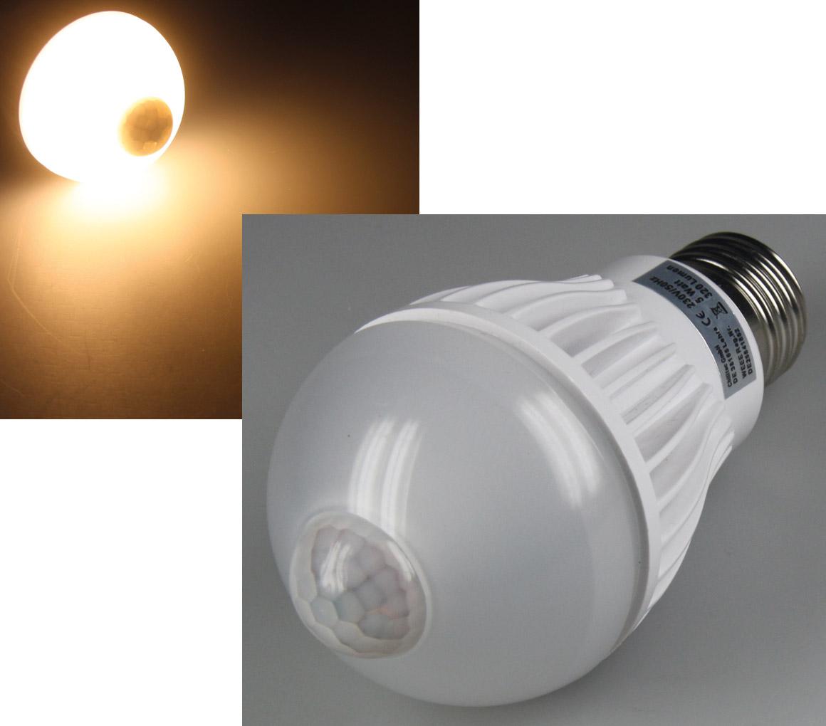 """Chilitec LED Glühlampe E27 """"PIR-5W"""" warmweiß, 3000k, 320lm, 5W, mit Bewegungsmelder ct-20891"""