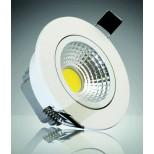 "LED-Einbauleuchte ""COB-3"", 3W, 250lm, ALU, 3000K, 90°, Ø85xT47mm, Rahmen weiß"