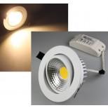 LED Einbaustrahler, Einbauleuchte 7 Watt warmweiss, schwenkbar, Gehäuse WEISS