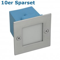 10er Set LED Wandeinbaustrahler, LED Treppenleuchte Edelstahl, quadratisch IP54 für 230V