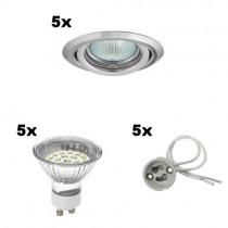 5er SET LED Einbaustrahler 230V mit LED Leuchtmittel, 20 SMD LEDs pro Strahler warmweiss