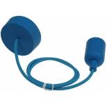 "E27  Lampenaufhängung ""Silikon"" blau, 230V, E27 Fassung, 80cm Textilkabel"