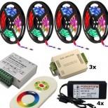 20m Meter (15m / 20m / 25m / 30m / 35m / 40m / 45m / 50m) RGB LED Stripe Komplett Set inkl. FUNK-RGB Controller + Fernbedienung und Netzteile