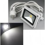 Marken LED Fluter, LED Scheinwerfer Gehäusefarbe weiss 10 Watt = 850 Lumen, IP65, 4000K tageslicht