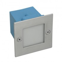 LED Wandeinbaustrahler, LED Treppenleuchte Edelstahl, quadratisch IP54 für 230V - Lichtfarbe 4000K tageslicht