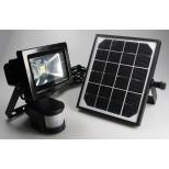 Solar LED Fluter, Strahler mit LI-ION Akku + Solarzelle + Bewegungsmelder 10W = 1000 Lumen