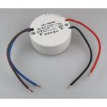 LED Trafo rund, kleine Bauform mit 12V DC Gleichspannung und 12 Watt Leistung für Unterputzdosen