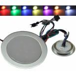 RGB LED Einbaustrahler, Einbaupanel, Bodeneinbaustrahler rund Ø55mm, IP67 Wasserschutz, RGB bunt, trittfest