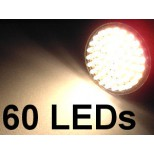 12V MR16 / GU5.3 LED Leuchtmittel Strahler 60 LEDs 12 Volt AC / DC warmweiss 3,3W = 260 Lumen