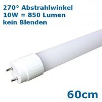 Günstige 60cm LED Röhre T8 / G13 600mm, 10 Watt = 850 Lumen, 6000 Kelvin mit 270° Abstrahlwinkel