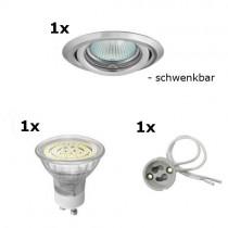 LED Einbaustrahler SET mit LED Leuchtmittel 60 LEDs, Einbauring und Sockel 230V, warmweiss
