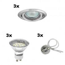3er LED Einbaustrahler mit LED Leuchtmittel - 20 LEDs pro Strahler warmweiss
