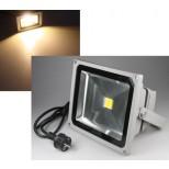 LED Fluter, LED Scheinwerfer 30W Watt = 2400 Lumen, IP44, warmweiss mit Kabel & Stecker