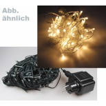 LED Lichterkette mit 80 warmweißen LEDs, 18m lang, grünes Kabel, für Aussen IP44